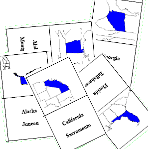 us united states usa fifty states flash cards